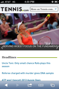 Tennis.com's mobile site