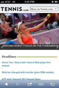 Tennis.com's mobile site