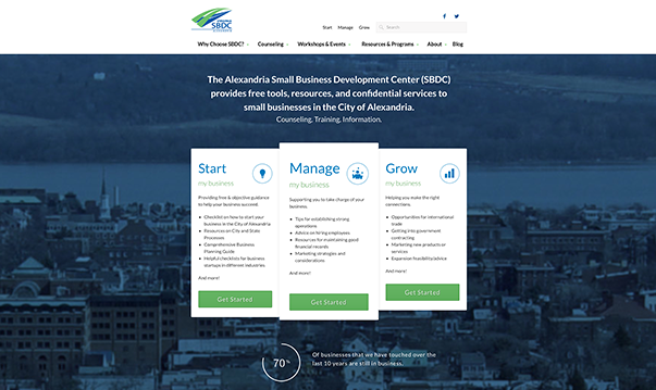 Alexandria Small Business Development Center's home page