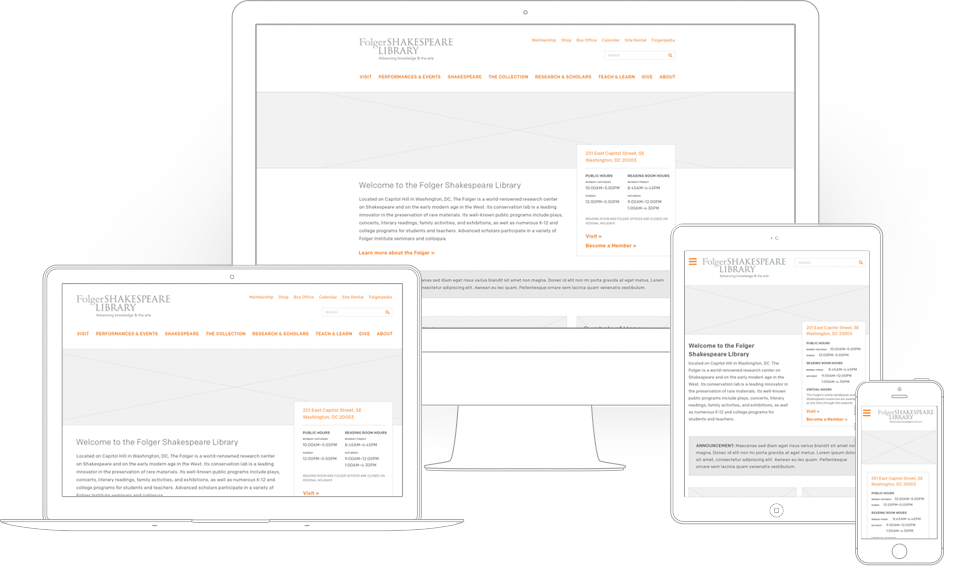 The Folger Shakespeare Library responsive wireframe comps