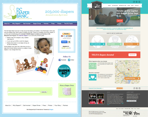 The before & after homepages for nonprofit, DC Diaper Bank's new WordPress-powered website, designed and developed during CreateathonDC