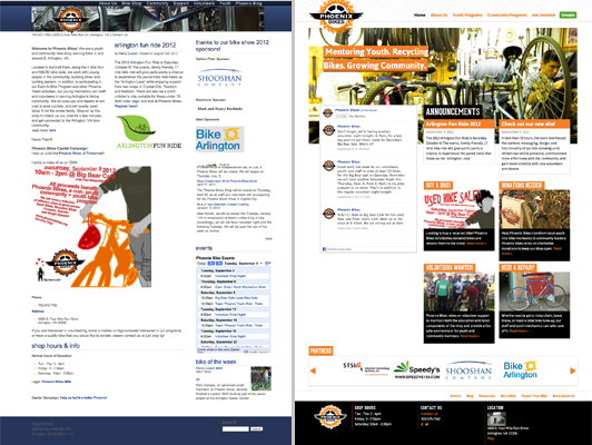 The before & after homepages for nonprofit, Phoenix Bikes's new WordPress-powered website, designed and developed during CreateathonDC