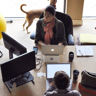 We have a very open workspace where people of all disciplines work together