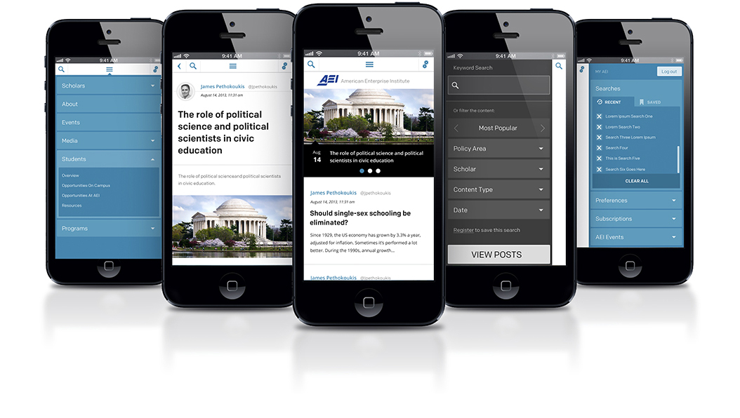 American Enterprise Institute mobile design comps