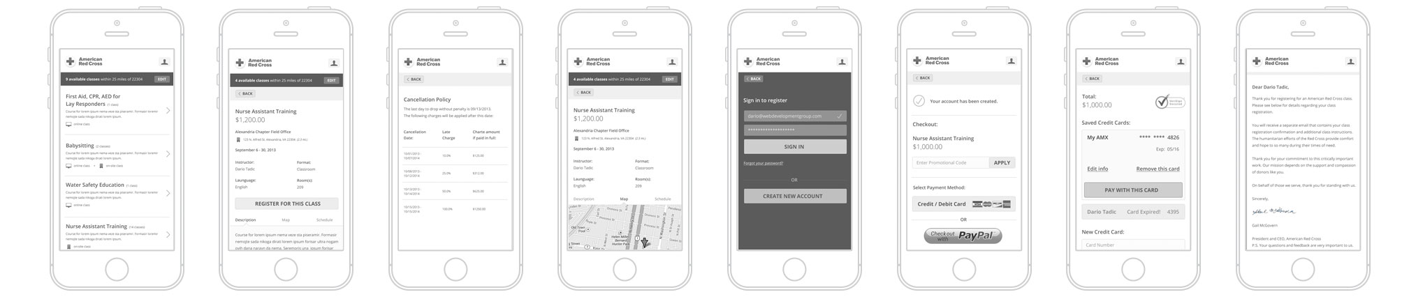 Red Cross wireframe comps