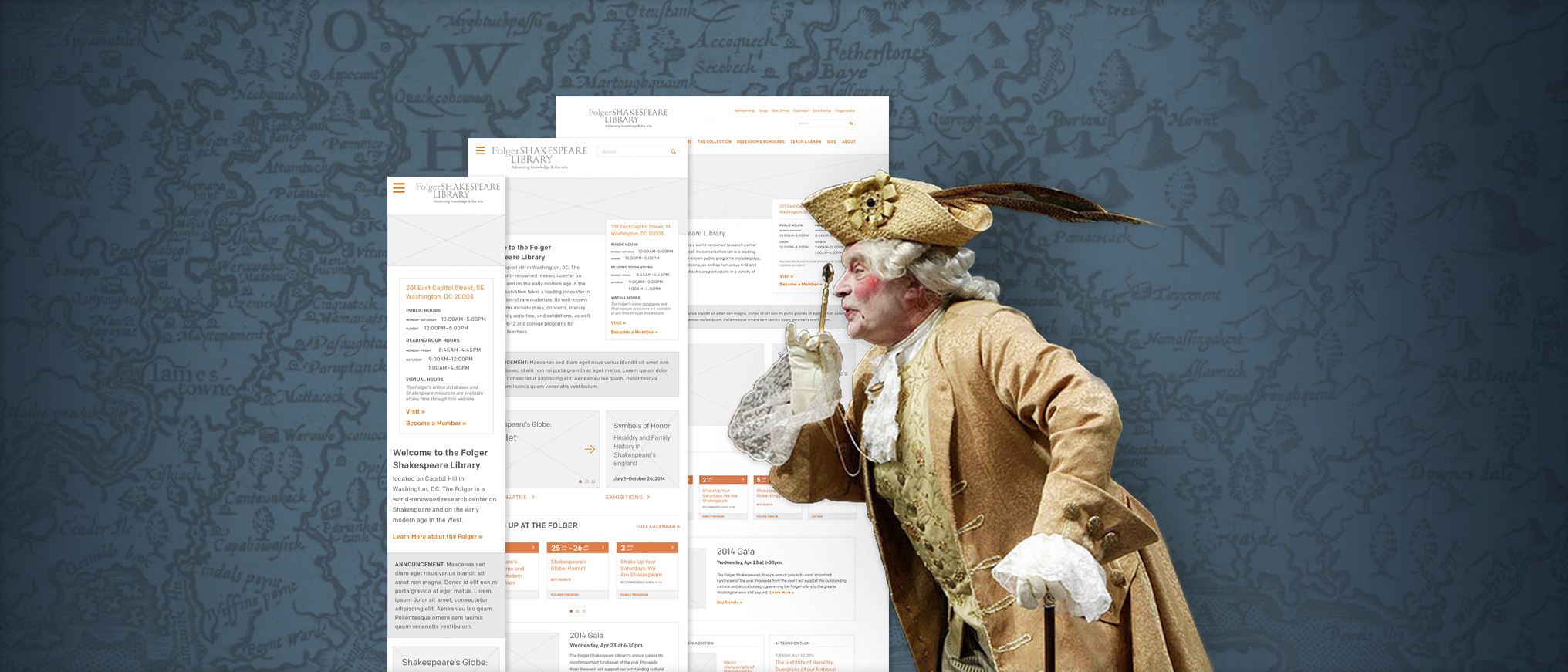 Responsive wireframe comps for the new Folger.edu
