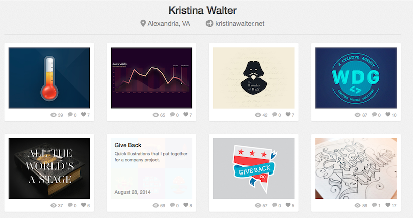 My Dribbble page shows a lot of different work I do—for clients, and for myself.