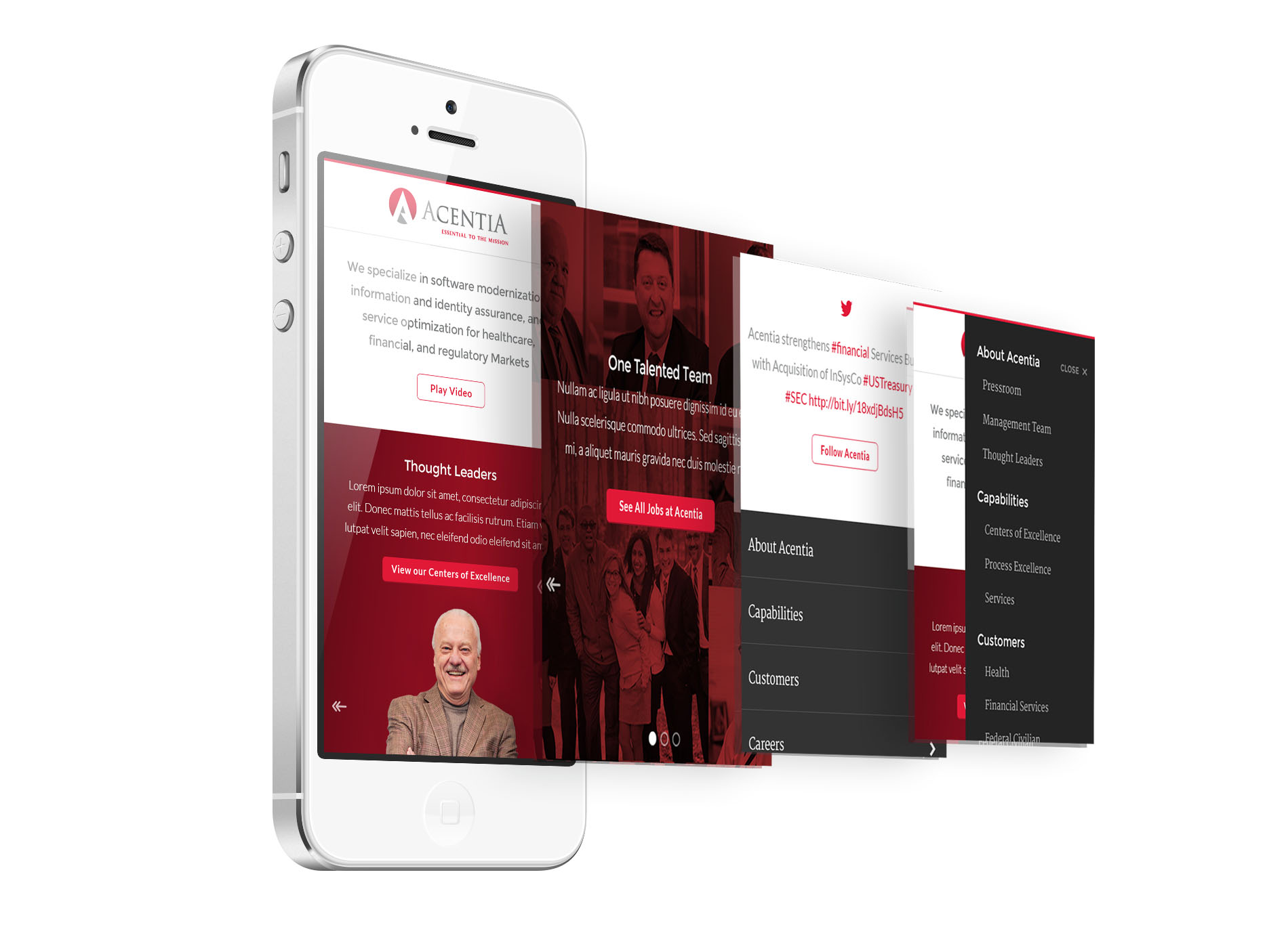 Acentia mobile design comps