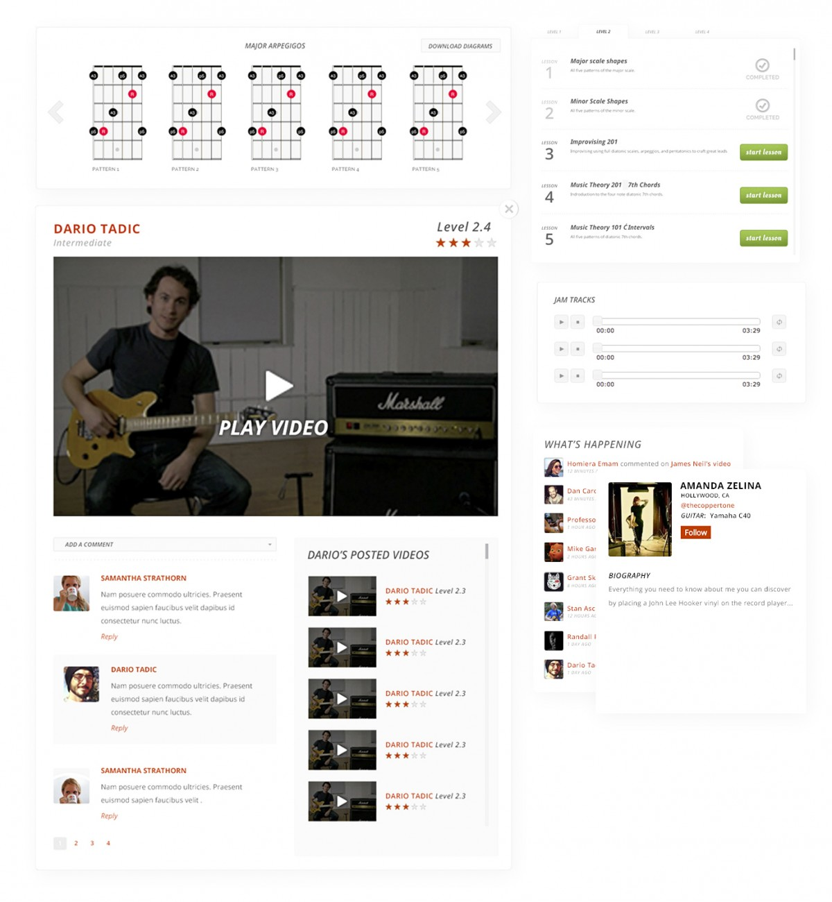 User Interface design comp for Guitargate lesson page