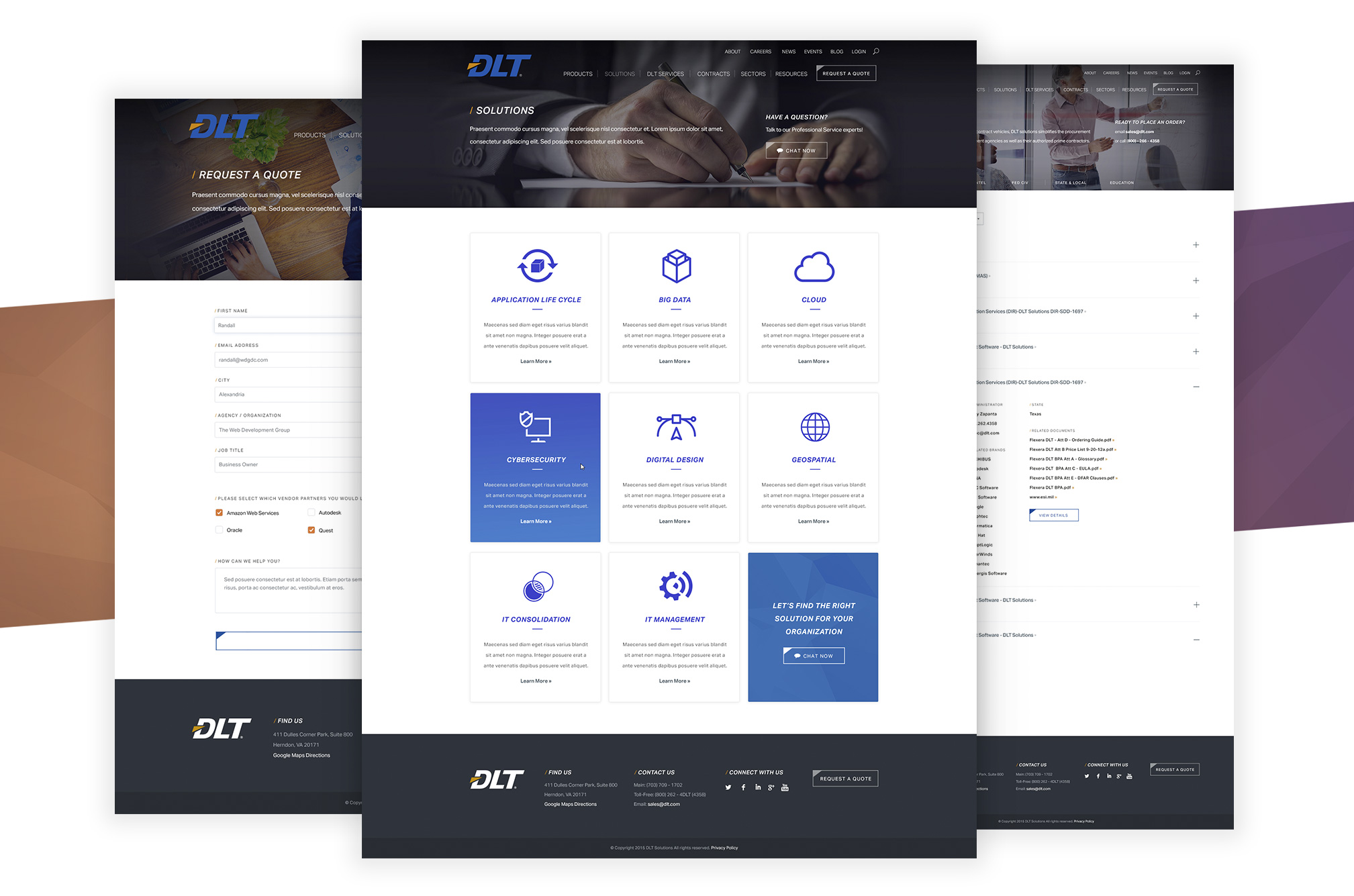 Design comps for DLT, a business to government IT company