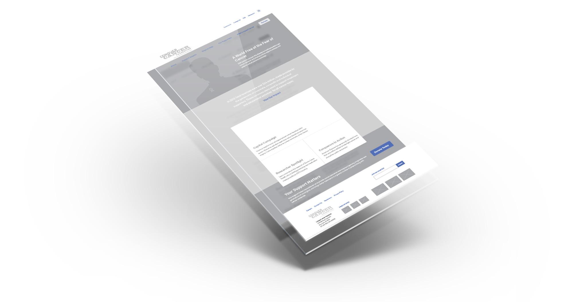Conquer Cancer Foundation mobile design layer comps