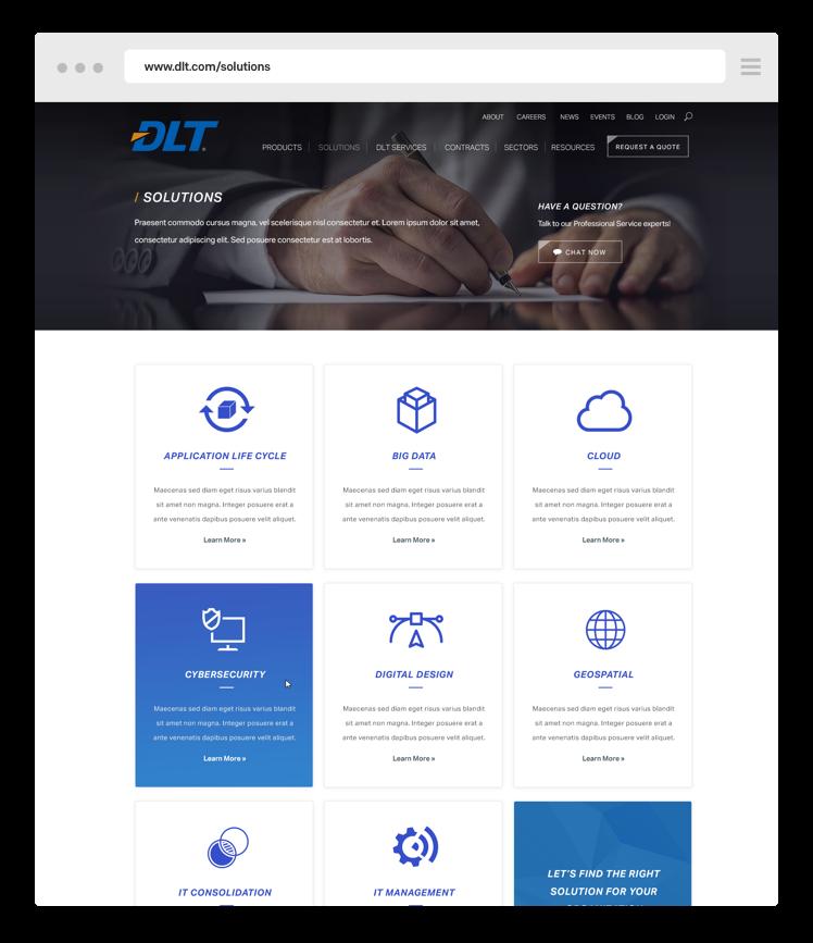 DLT web design mockup