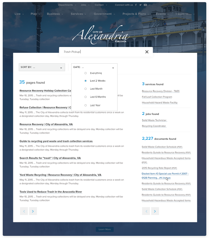 City of Alexandria Search web design mockup