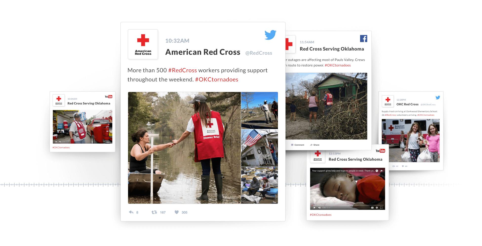 Red Cross Social Media Disaster Action Center web design mockup