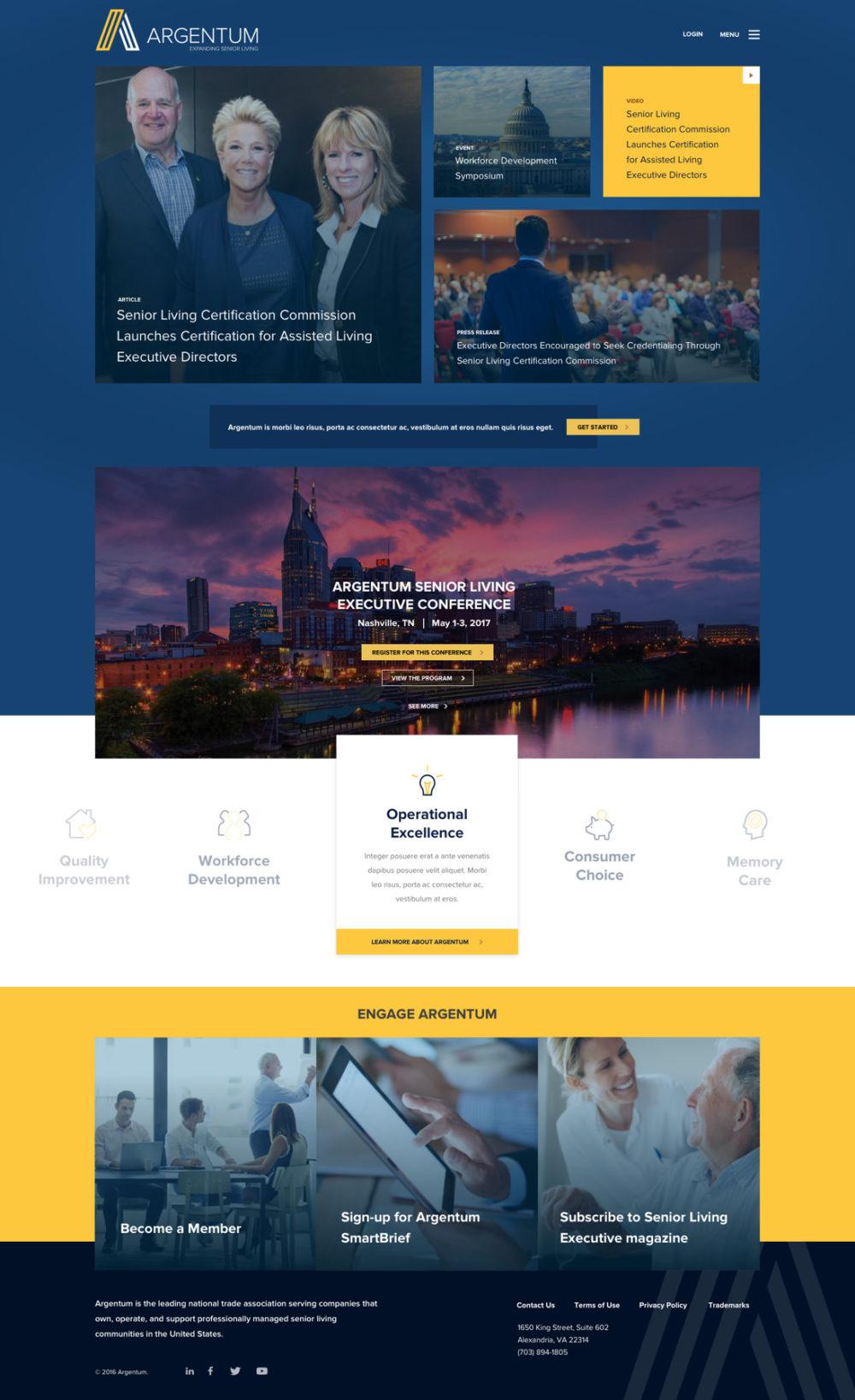 Argentum homepage mockup