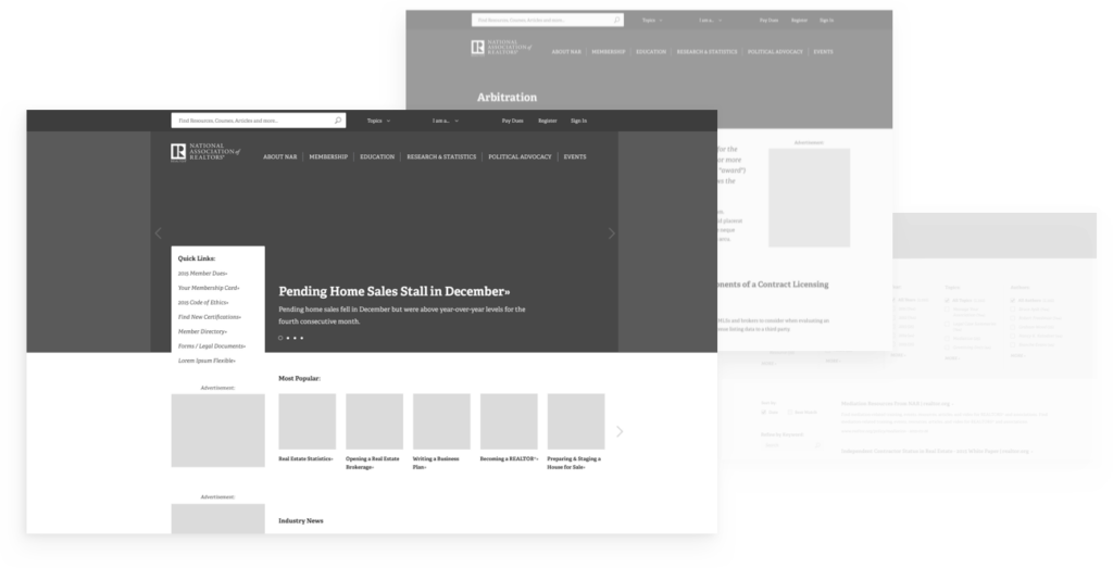 National Association of Realtors wireframe prototypes