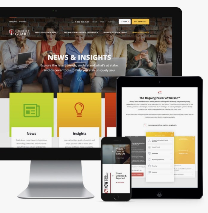 Identity Guard's responsive website