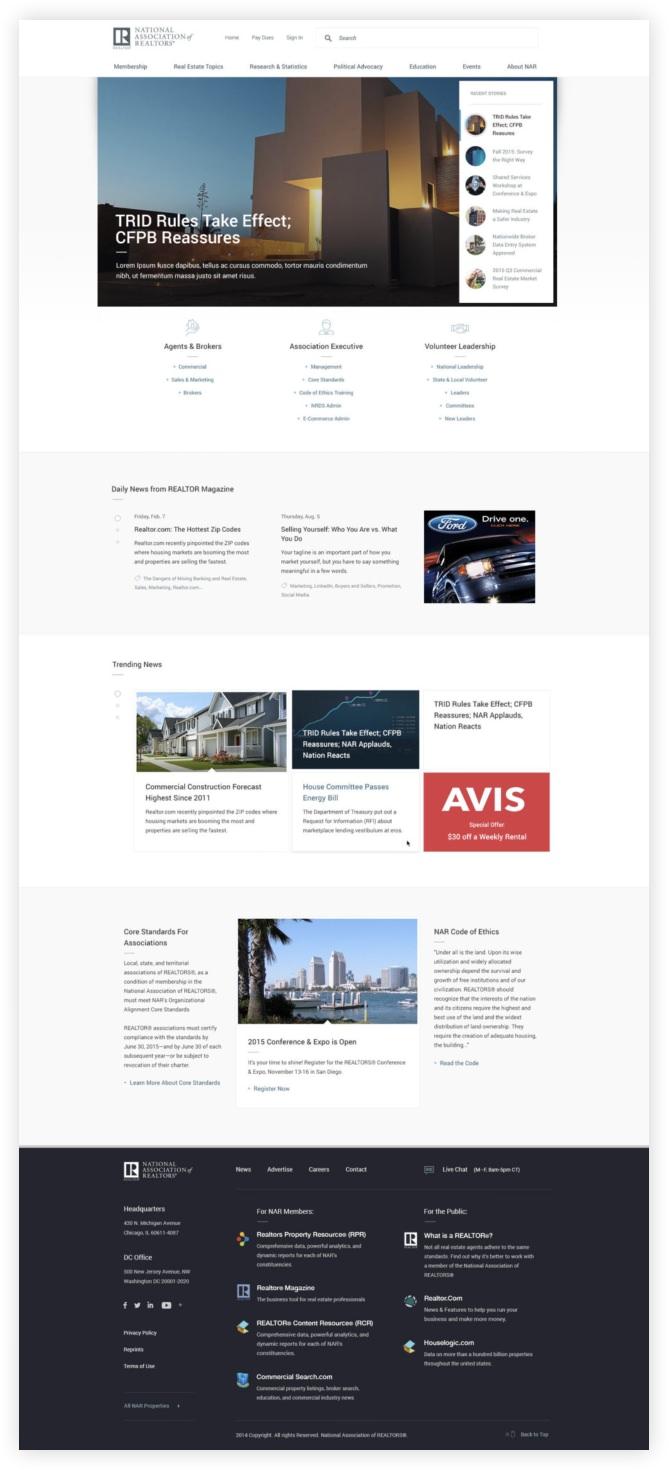 Full screenshot of National Association for Realtors' website