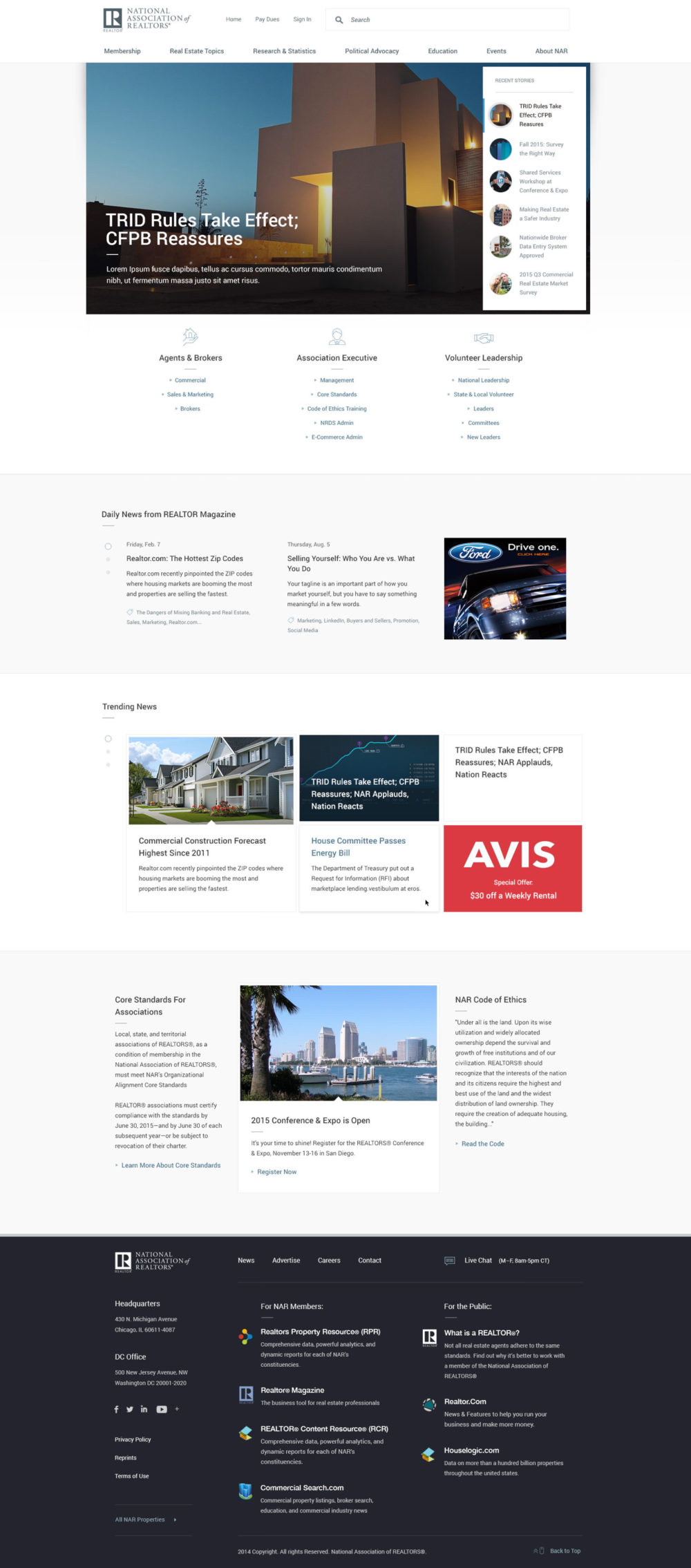 National Association of Realtors homepage mockup