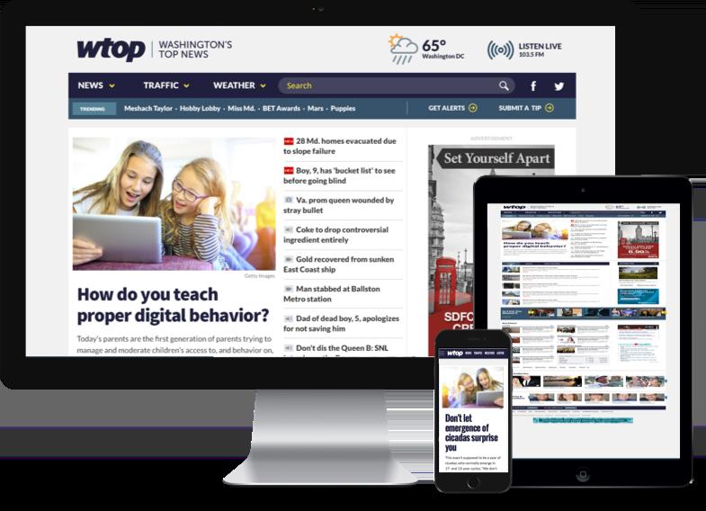 WTOP responsive design mockups