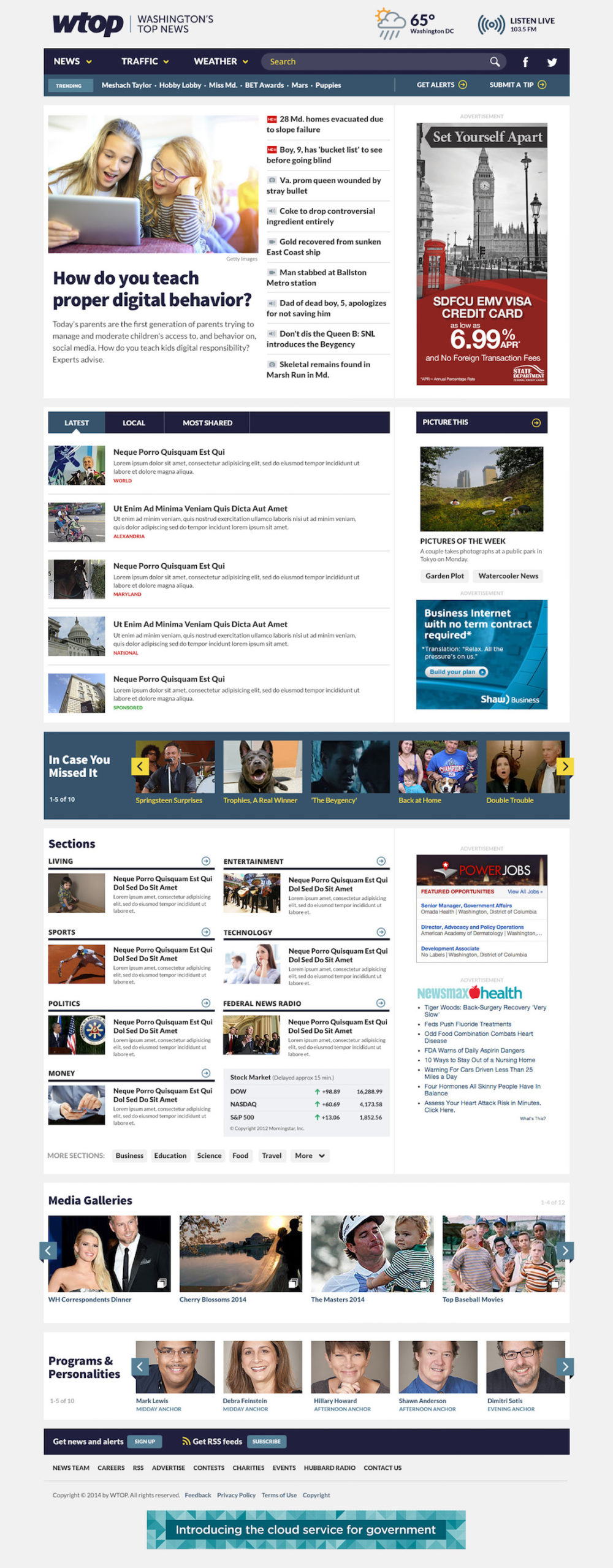 WTOP WordPress homepage mockup