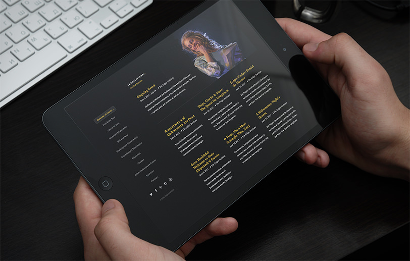 Folger Shakespeare Library Wonder of Will design mockup on tablet