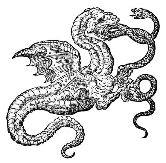 black and white illustration of dragon eating snake