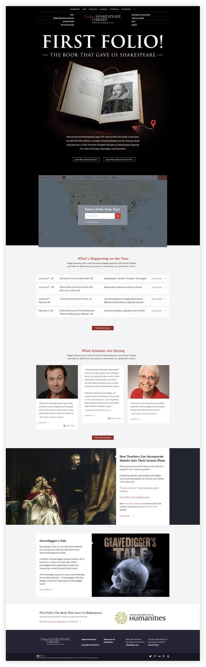 first folio website homepage screenshot