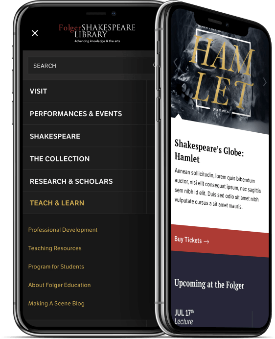 folger shakespeare library website on mobile devices