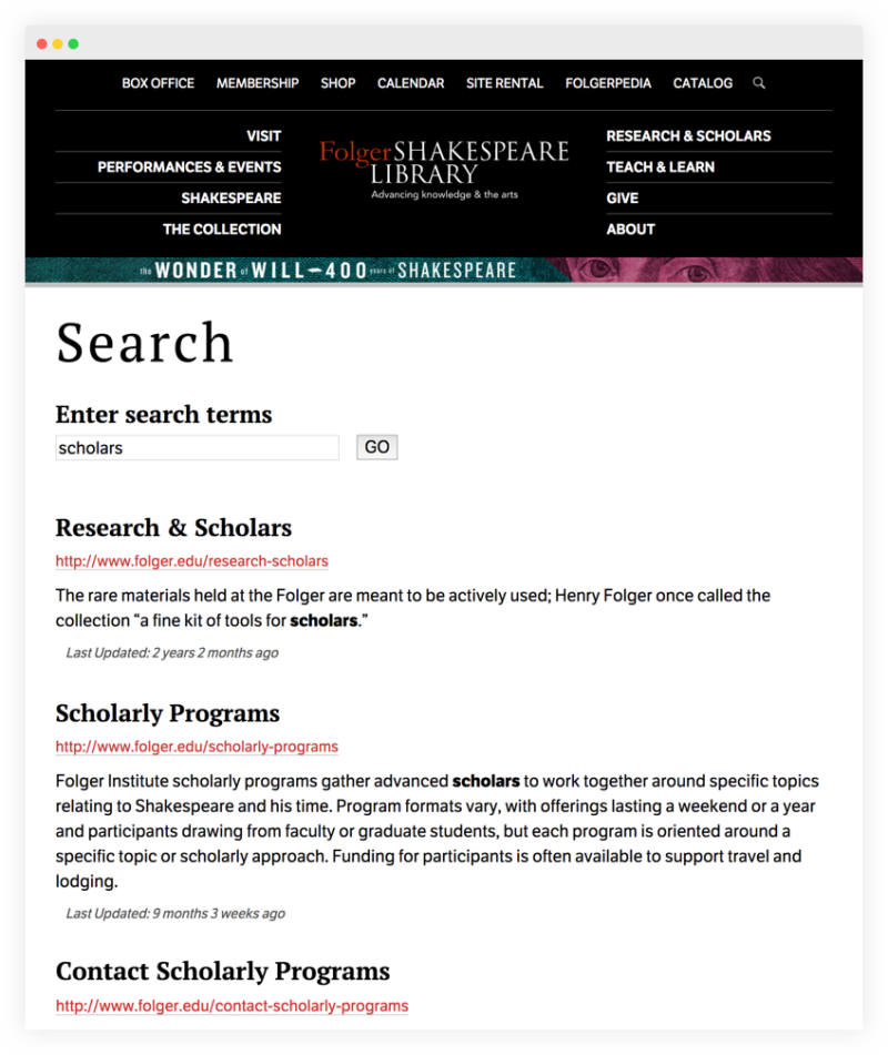 Folger Shakespeare Library advanced search details