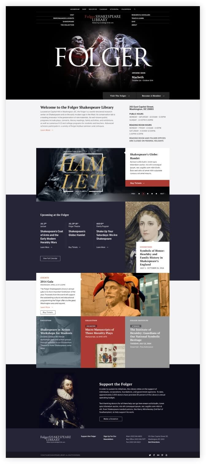 screenshot of the folger shakespeare library website homepage