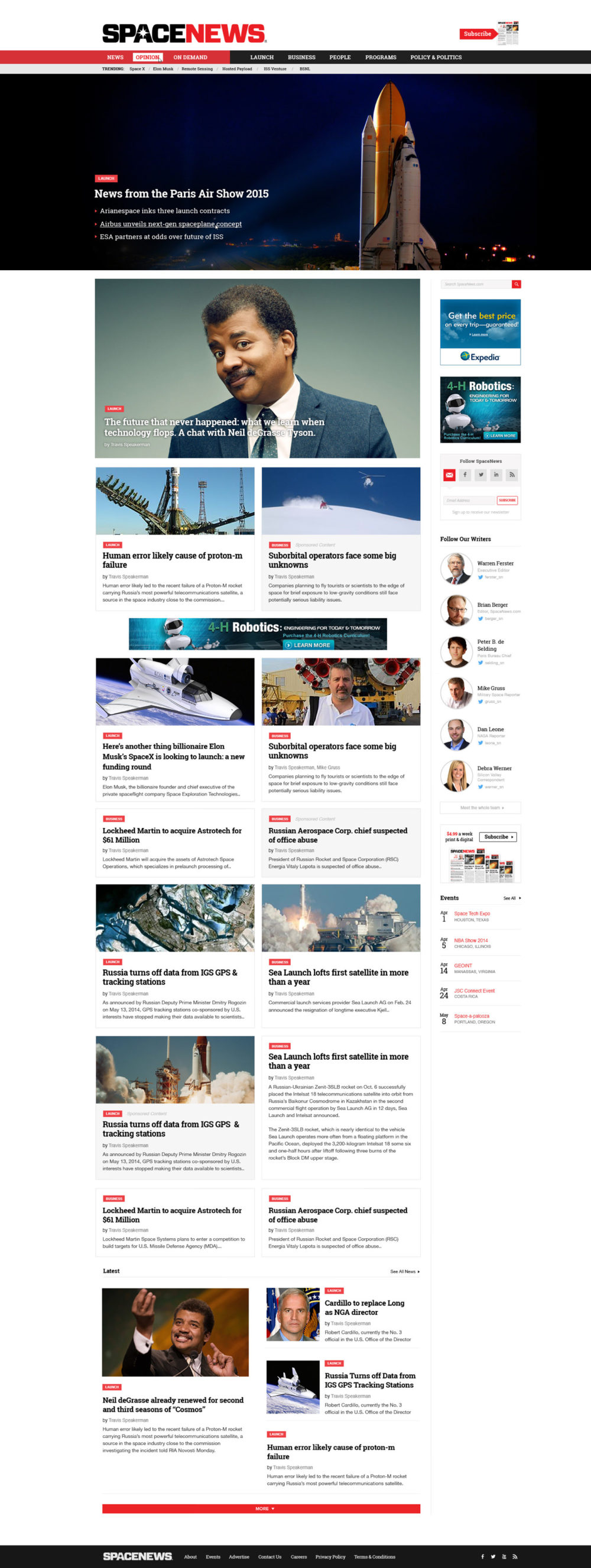 SpaceNews WordPress homepage mockup