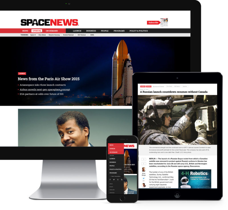 SpaceNews responsive WordPress mockup
