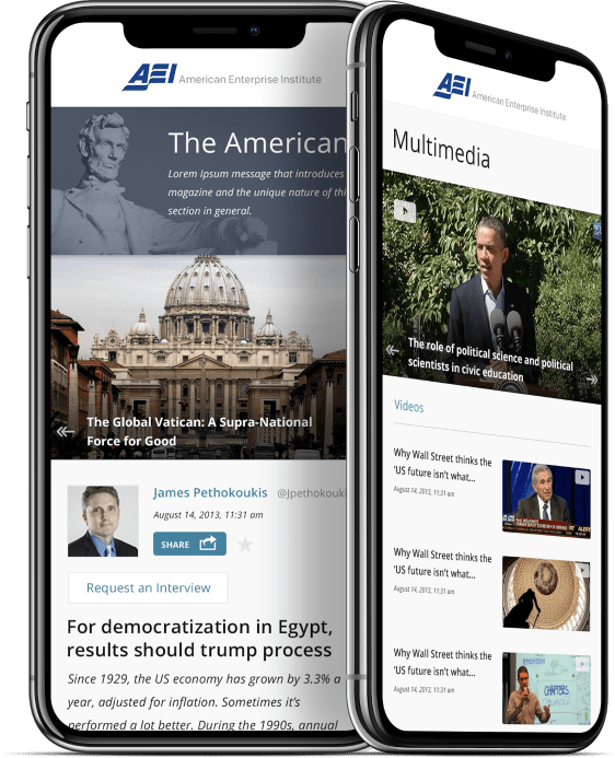 American Enterprise Institute website displayed on a mobile device