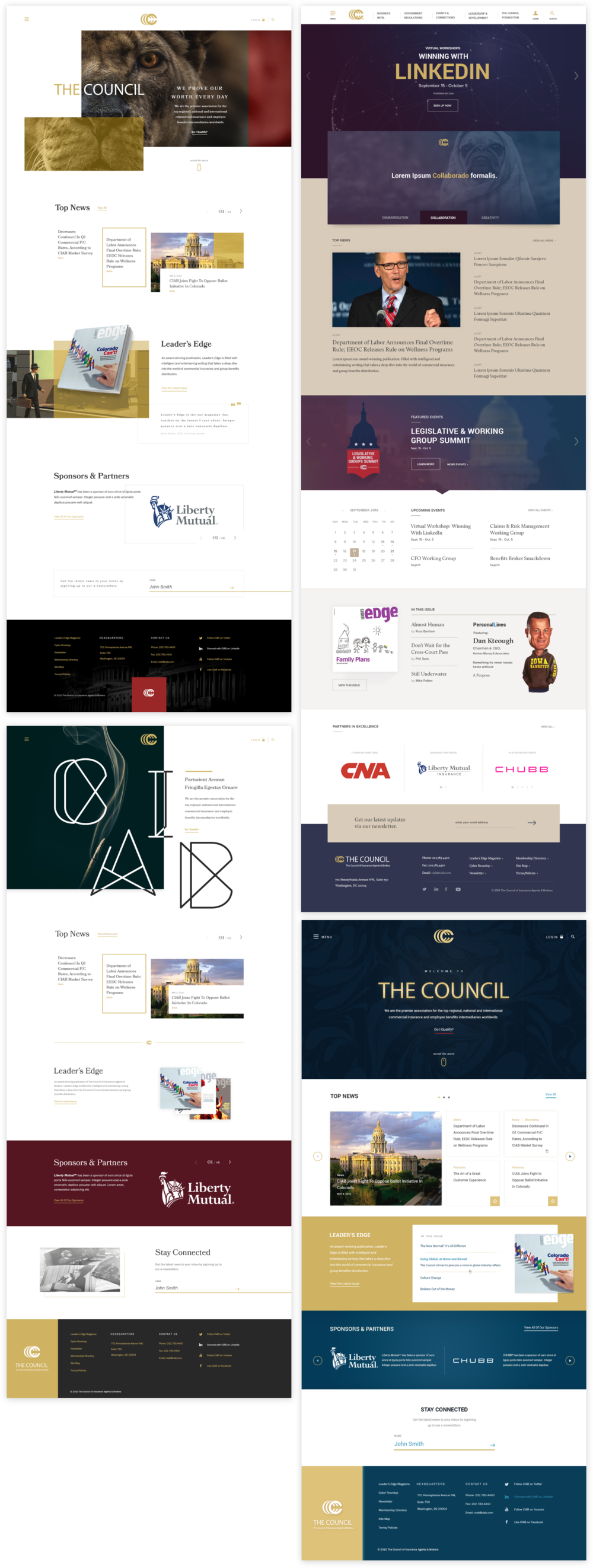 The Council of Insurance Agents & Brokers homepage design mockups