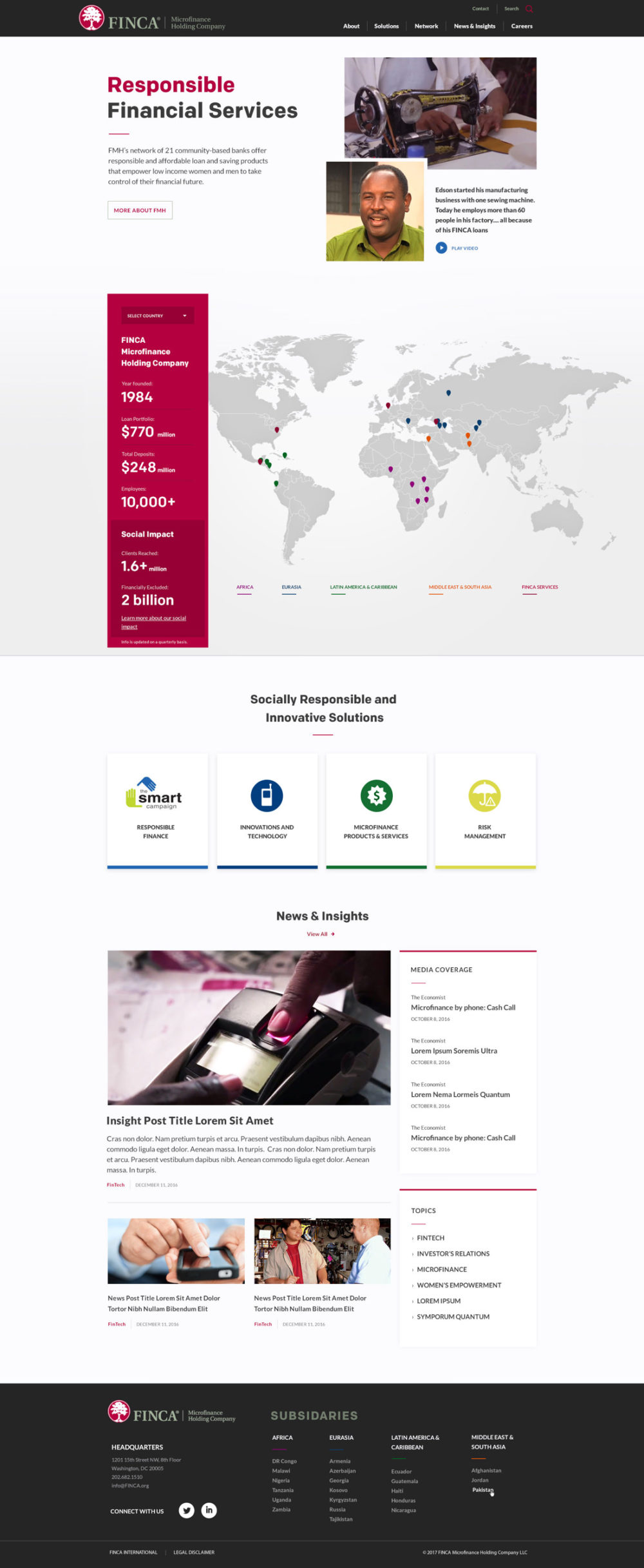 FINCA International homepage