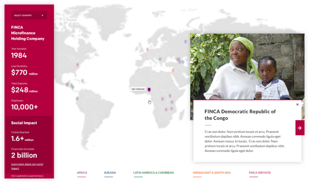 FINCA International map design details