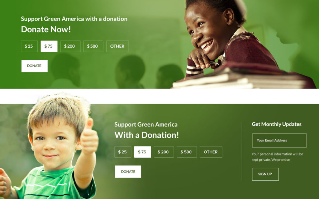 Green America quick donate functionality
