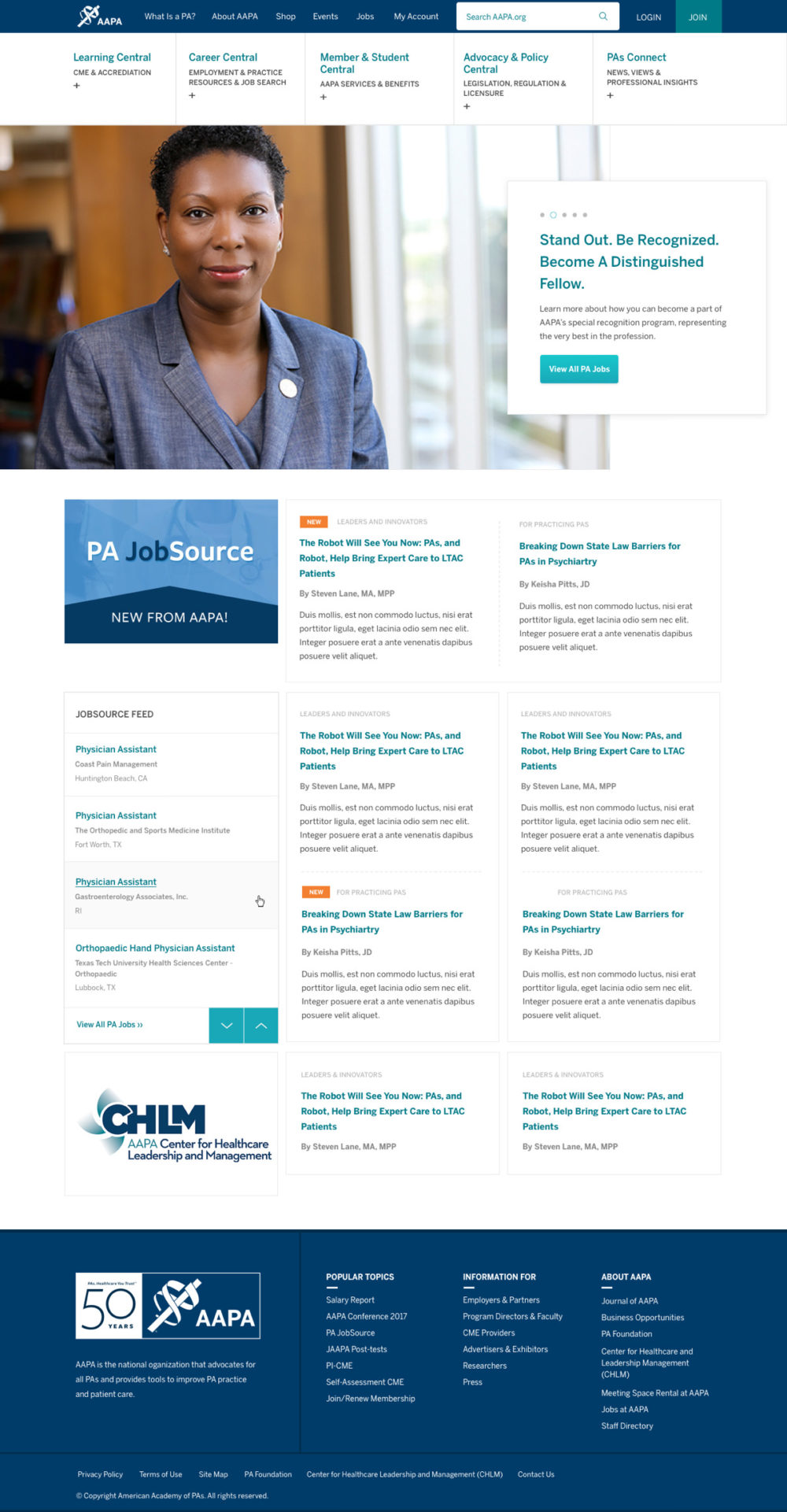American Academy of Physician Assistants WordPress homepage mockup