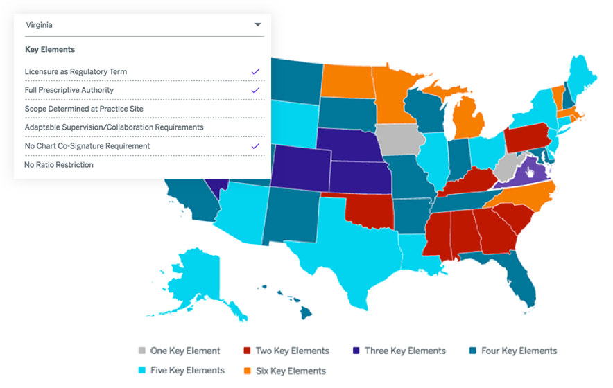 American Academy of Physician Assistants interactive map functionality
