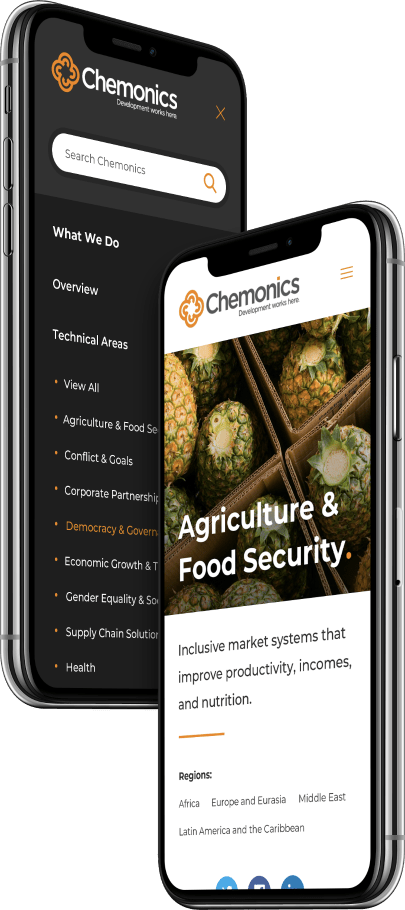 Chemonics website displayed on a mobile device