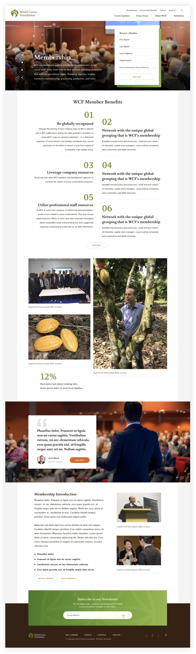 Membership page of World Cocoa Foundation