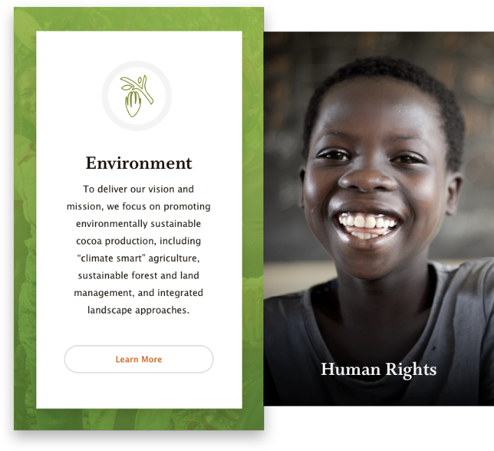 Hover affect from World Cocoa Foundation website