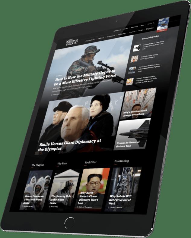 National Interest website displayed on a tablet device.