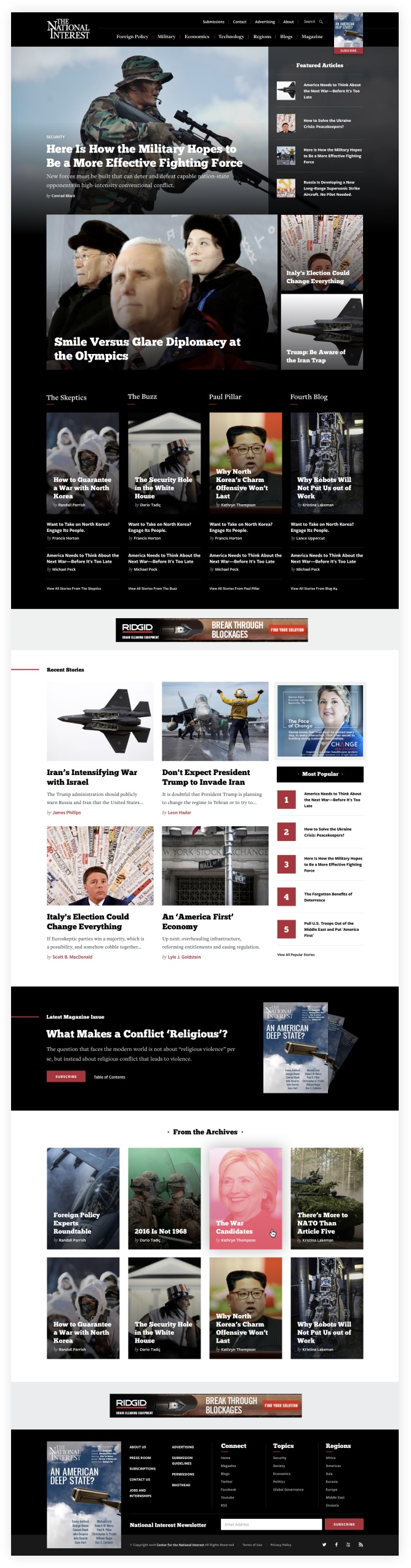 Screenshot of National Interest Homepage