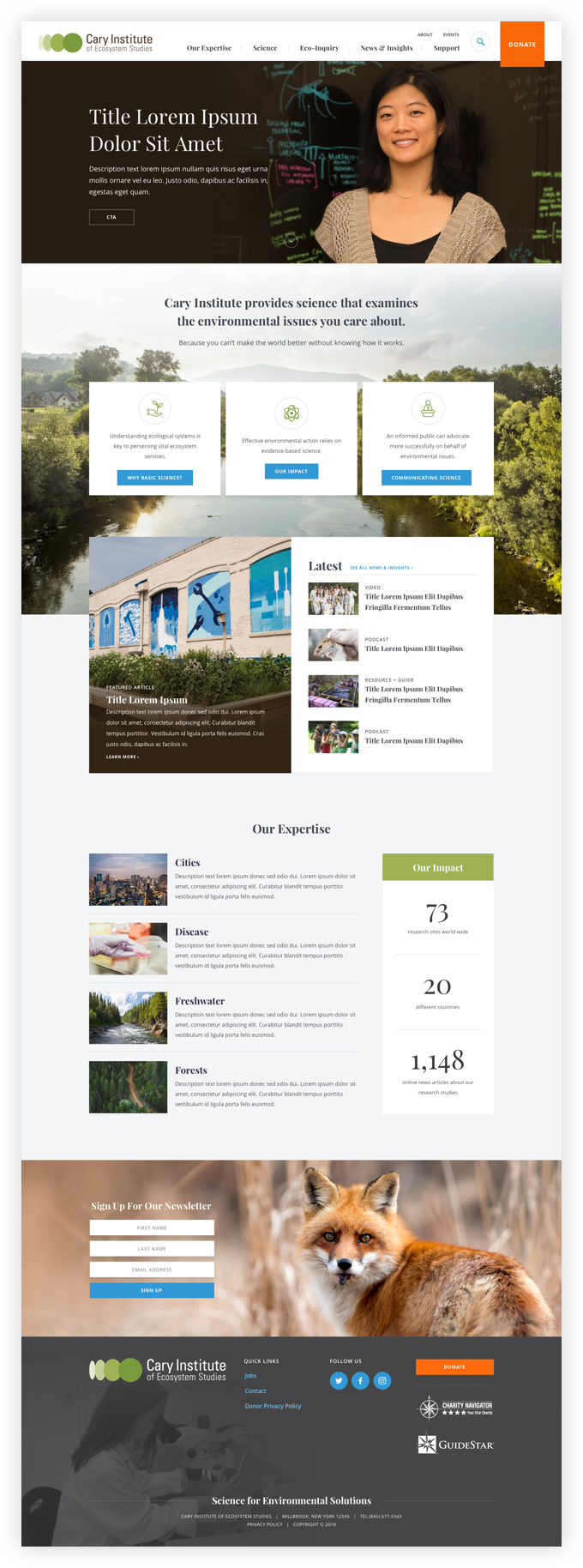 Design comps for Cary's full homepage.
