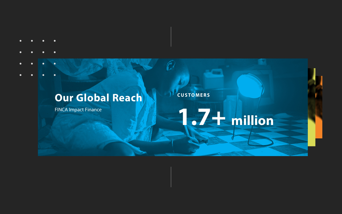 A screenshot of Finca's global reach statistic: over 1.7 million customers.