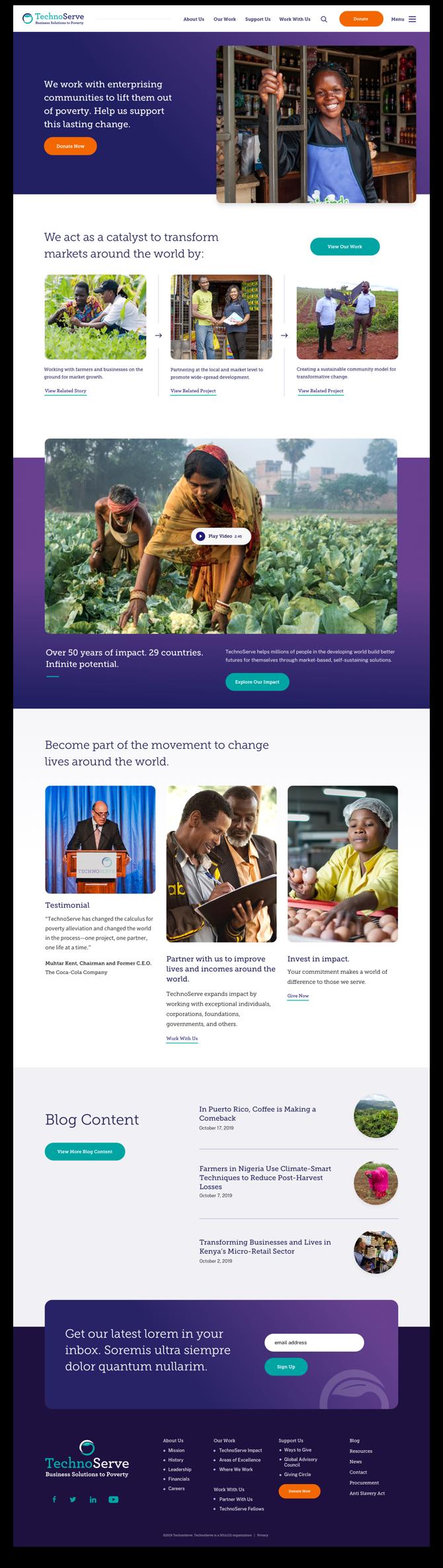 TechnoServe's homepage.