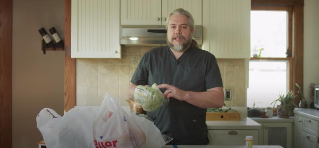 Video of Dr Jeffrey VanWingen cleaning groceries