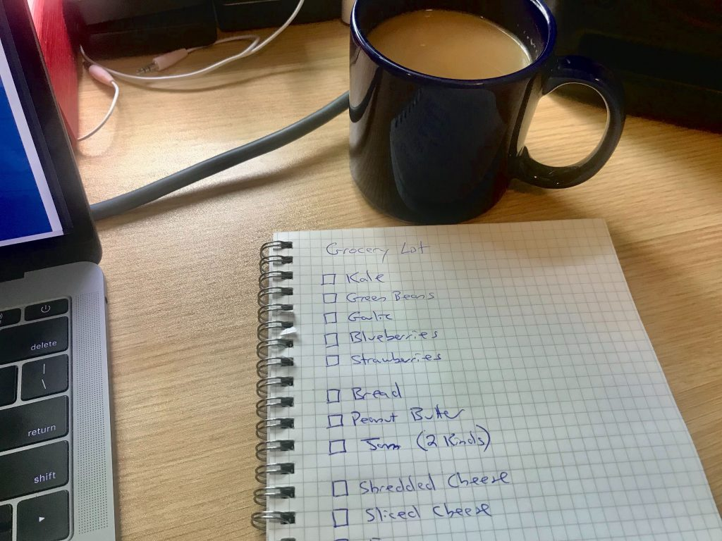A photo of a grocery list being drafted